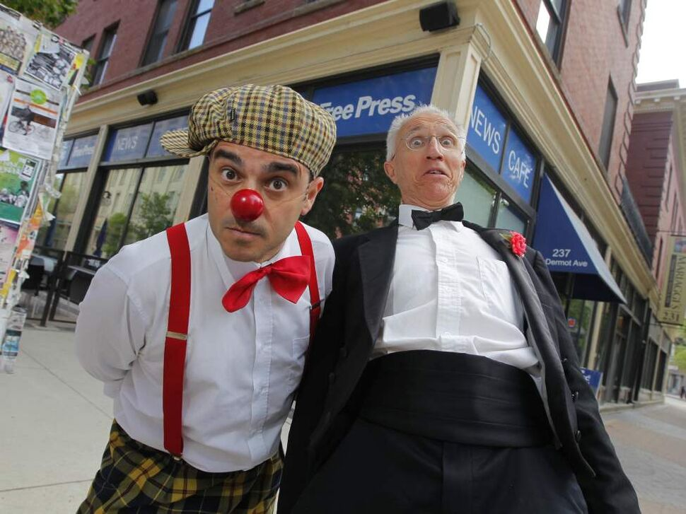 KIDS FESTIVAL - Pedro Tochas and Al Simmons pose for a photo in front of the Winnipeg Free Press Cafe.  June 5, 2014