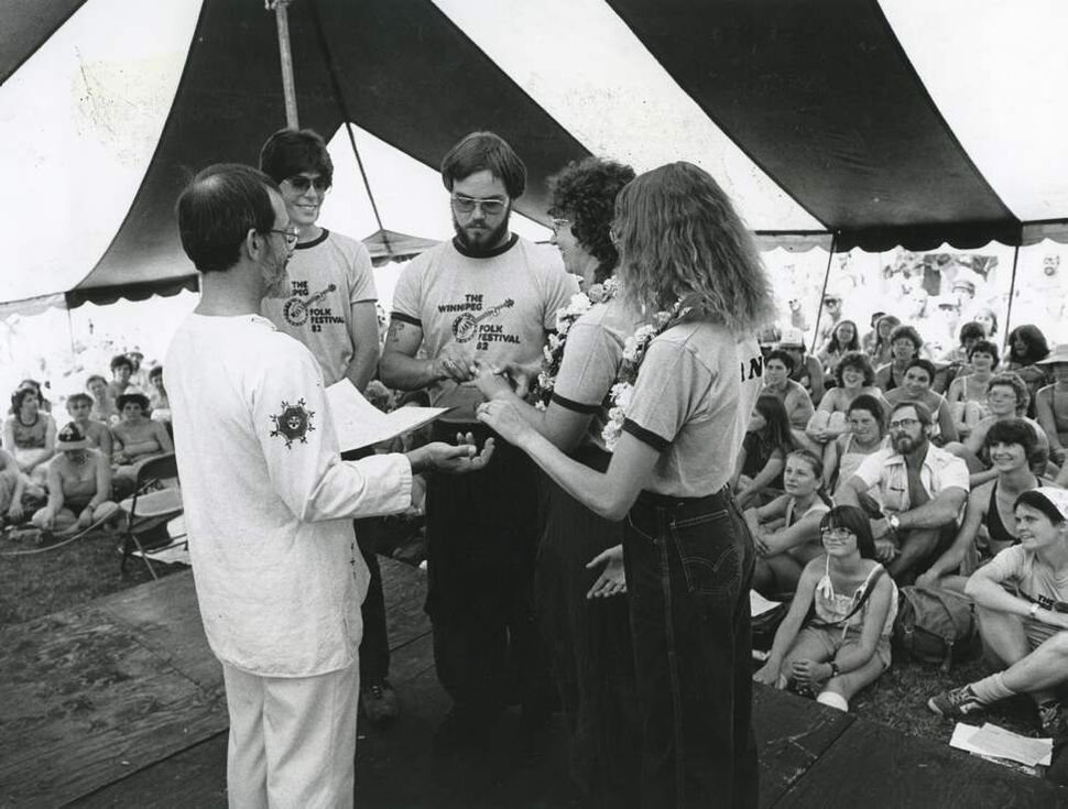 Scott Johnson, 27, of Oregon and Ruth Dixon, 32, of Minnesota were married on July 12, 1982 in a tent before 300 spectators at the Winnipeg Folk Festival. The couple, assisted in their vows by Kent Militzer and his wife Jan, met at the festival several years before. They've been promised a festival pass on their 50th anniversary.  (JIM WILEY / WINNIPEG FREE PRESS)