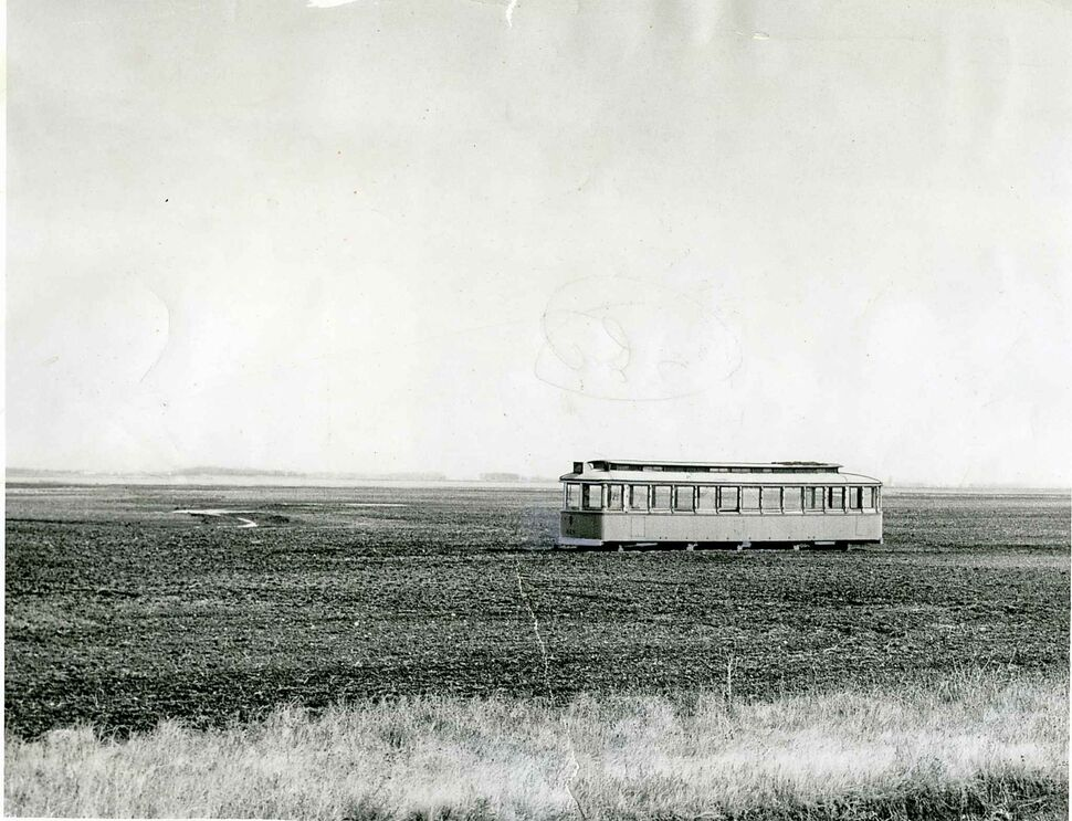 This ancient streetcar, standing in a field near Westbourne, MB in a 1958 photo, is one of many that were used by farmers as granaries. In 1957, the Winnipeg Electric company sold about 22 old disused cars to residents of Winnipeg, farmers and others in the surrounding rural areas.Some were used for granaries, others for greenhouses and a few for skating shacks and club brooms for community clubs. One woman carted one into the Whiteshell district to be used as a summer camp. With the windows, the old trams sold for $75 apiece.  (Winnipeg Free Press files)