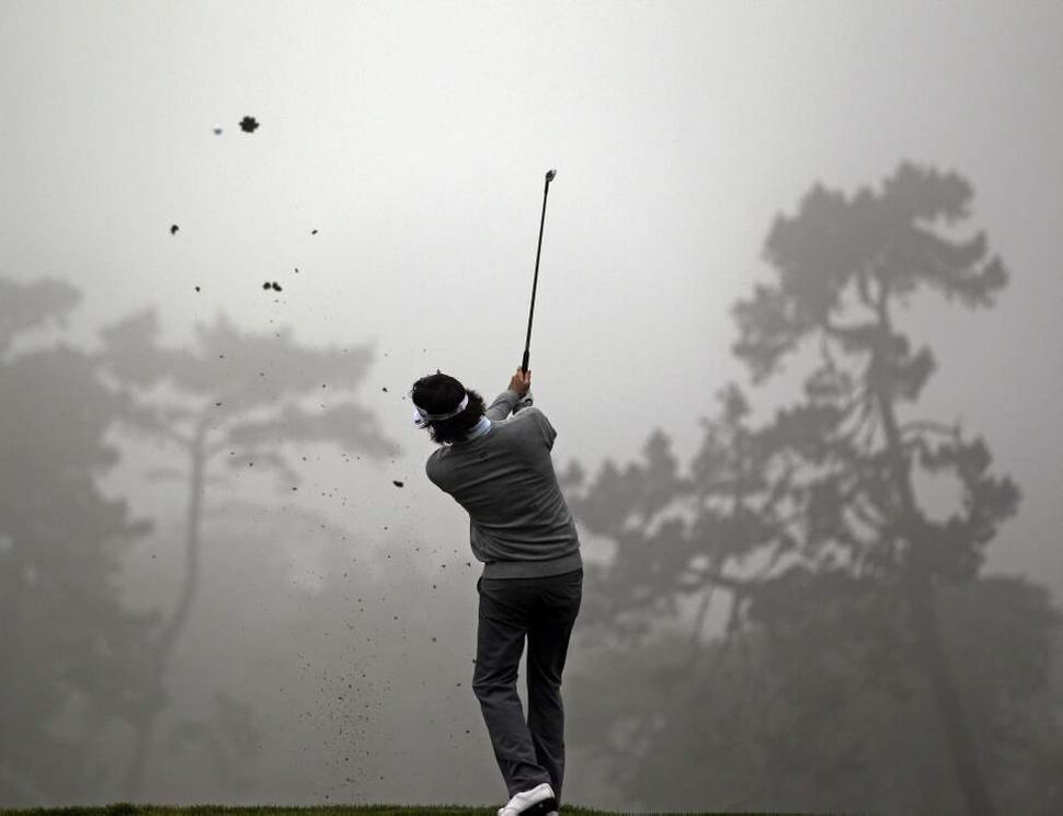 Bubba Watson hits a shot on the second hole during a practice round for the U.S. Open Championship golf tournament Wednesday, June 13, 2012, at The Olympic Club in San Francisco.  (David J. Phillip / The Associated Press)