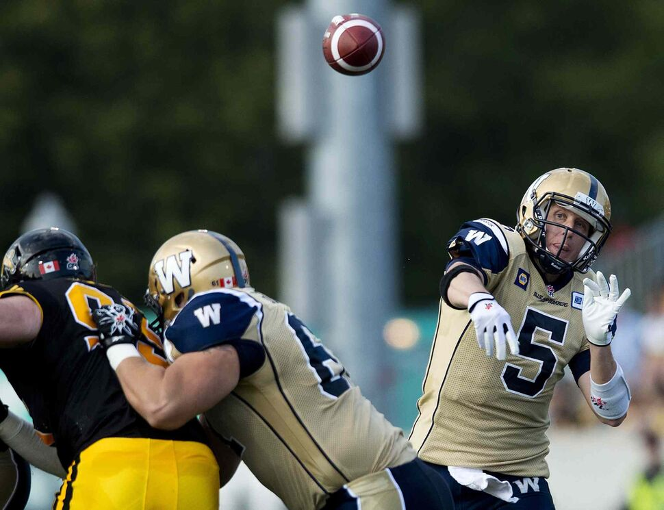 Winnipeg Blue Bombers' quarterback Drew Willy makes a pass against the Hamilton Tiger-Cats during first half of Thursday's game. (Nathan Denette / The Canadian Press)