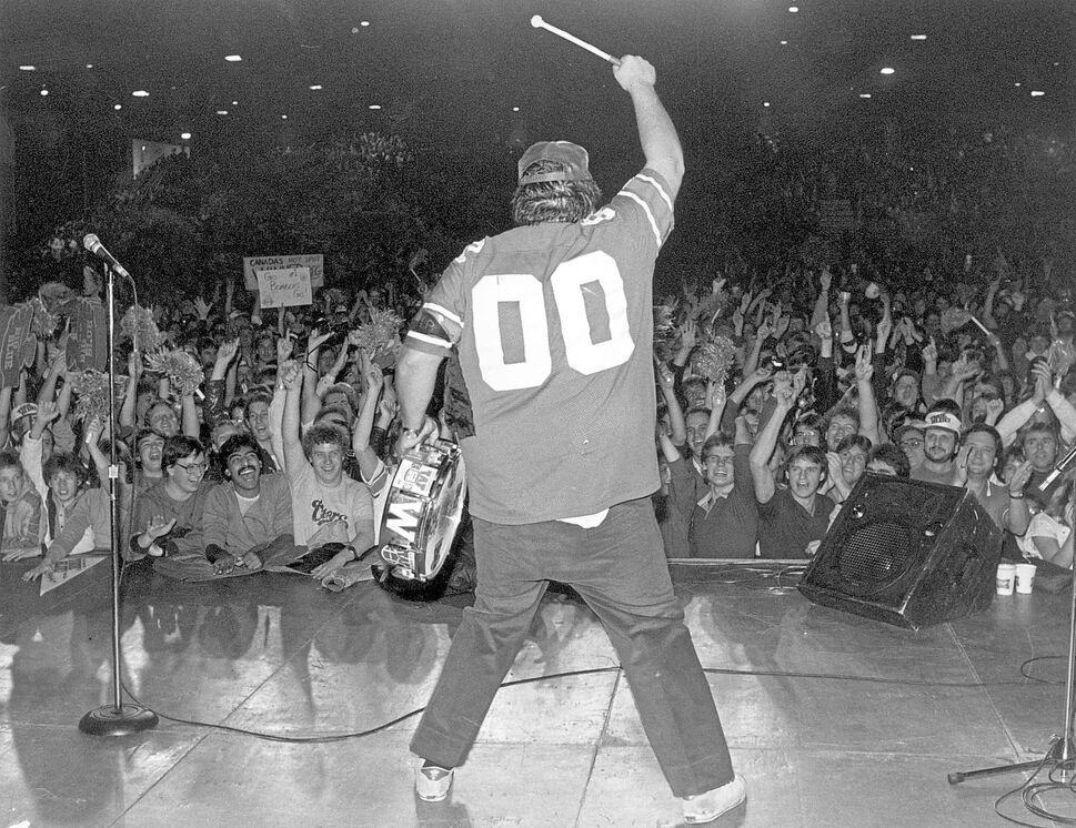 Radio personality Jack Skelly at a celebration held at  Winnipeg Arena for the 1984 Grey Cup game against Hamilton. (KEN GIGLIOTTI / WINNIPEG FREE PRESS ARCHIVES)