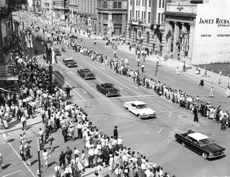 Portage Avenue and Main Street, seen on the July 24, 1959 Royal Visit of Queen Elizabeth and Prince Philip the Duke of Edinburgh. (Winnipeg Free Press Archives)