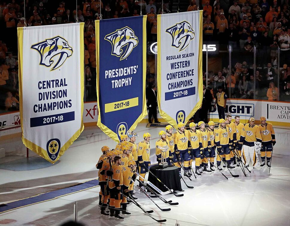 Nashville Predators as their banners are raised. (CP)