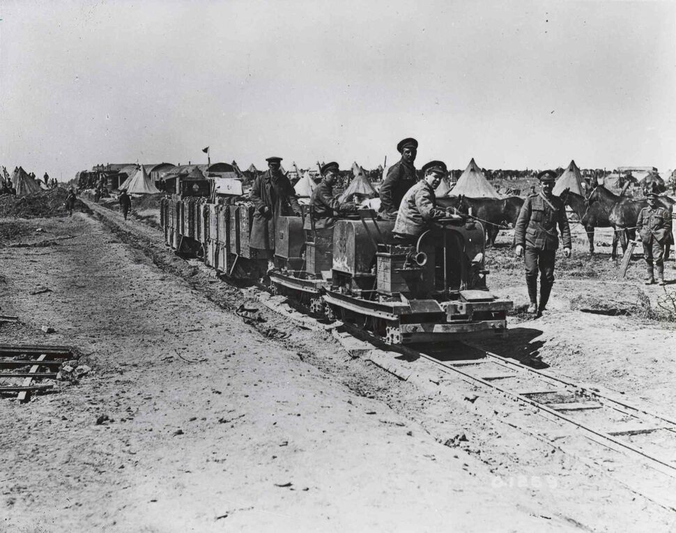Canadians making a light railway, April 1917.  The 107th Battalion, as a pioneer battalion, would have undertaken jobs such as as this, as well as digging trenches and running telephone lines; their duties also included serving as infantry. (: Canada. Dept. Of National Defence/National Archives of Canada/ PA-001208   )