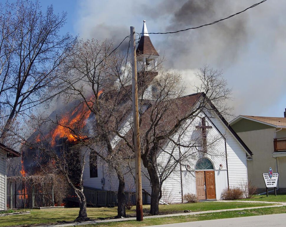 Reader Raymond Mollot from Archie's meats sent this picture of the 110-year-old United Church in Starbuck engulfed in flames Friday afternoon. (Raymond Mollot)