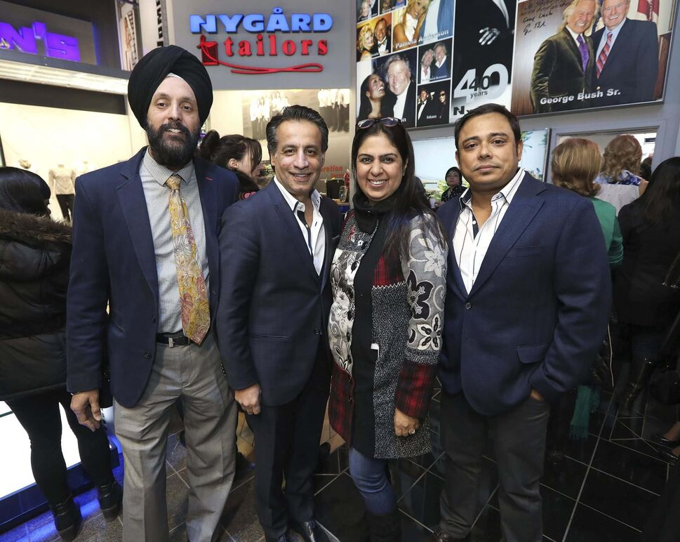 From left: Satwant Ateliey (business development manager for IJC Clothing), Sajjad Hudda (Nygard, president of retail), Sonia Sharma (Matrix clothing) and Rakesh Kumar.</p>