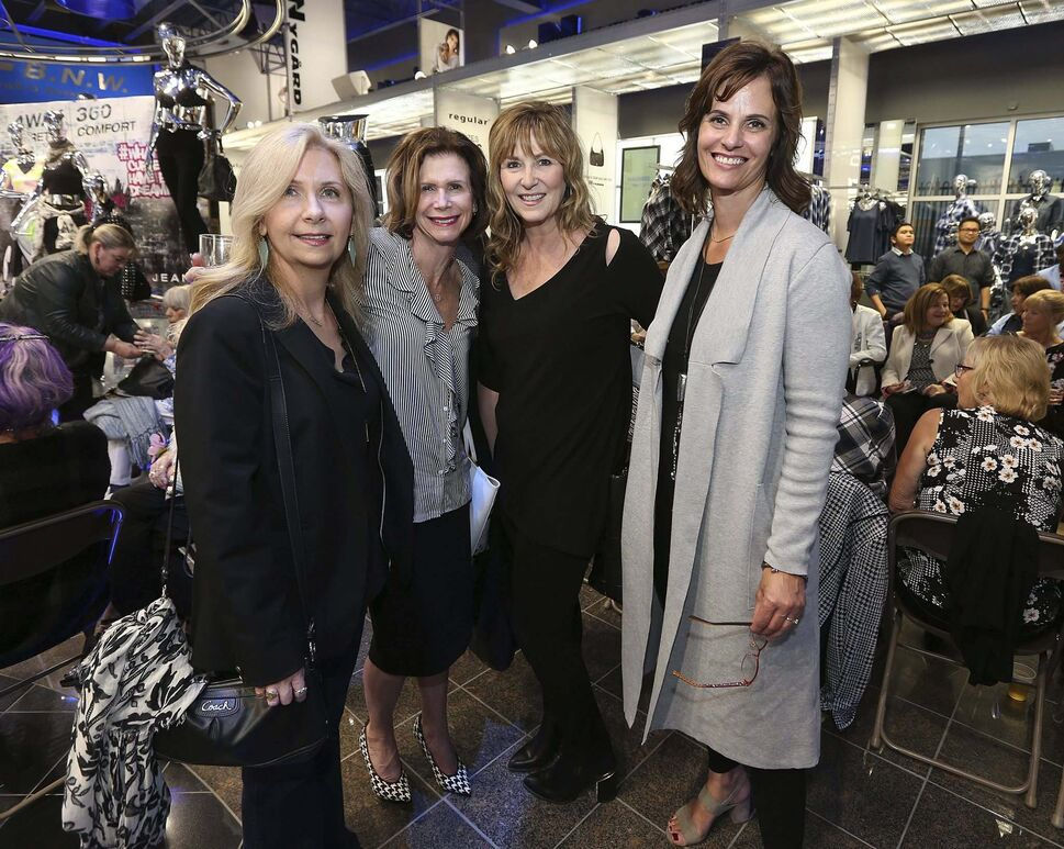 From left: Kerri Chase, Patti Smith (CancerCare Manitoba Foundation chief development officer), Pam McLeod (CancerCare Manitoba Foundation executive assistant) and Alyson Moffat (Winnipeg Blue Bombers corporate sales) attend the Nygård fashion show.</p></p>
