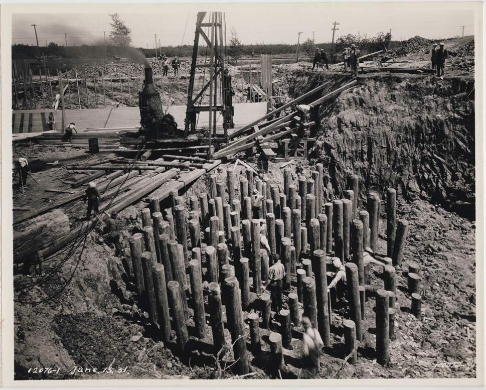 The foundation is prepared for the construction of a steam plant in the North End of Winnipeg, June 15, 1931.