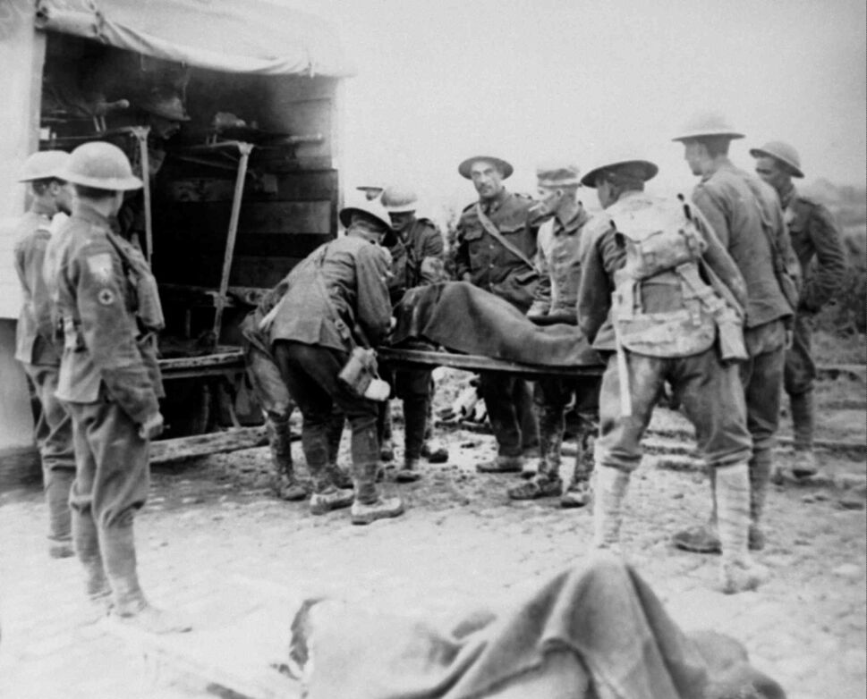 In this undated file photo, World War One wounded are being placed in ambulance during the advance on Lens, France. (The Associated Press Files)