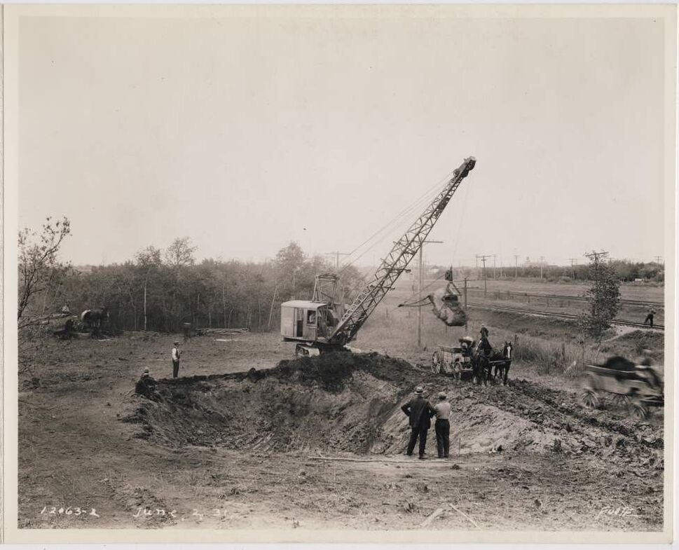 Construction begins at a steam plant in the North End of Winnipeg, June 2, 1931.