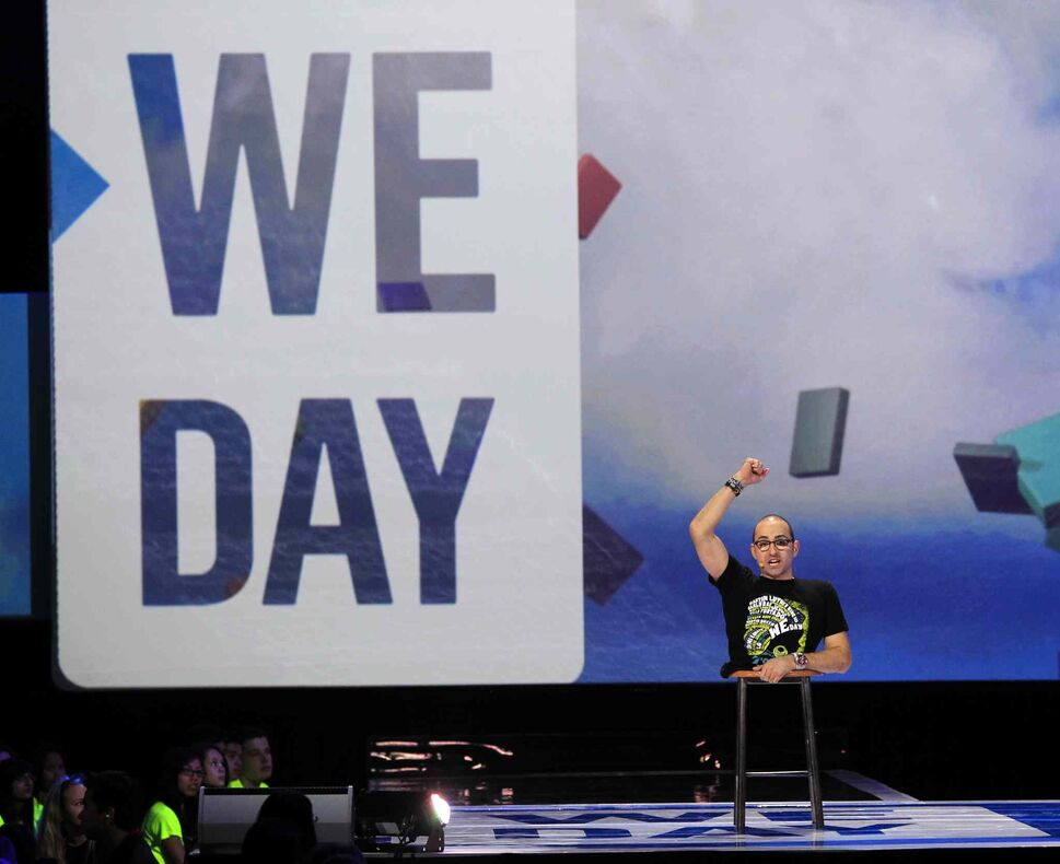 Inspirational speaker Spencer West addresses the crowd at We Day. (Wayne Glowacki / Winnipeg Free Press)