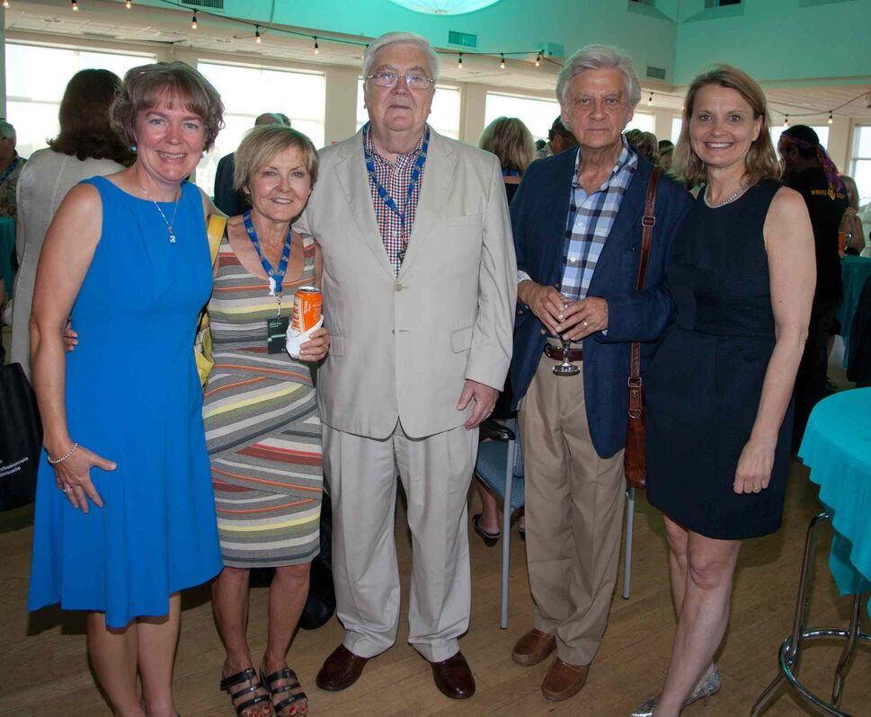 An opening reception for the 15th annual Gimli Film Festival was held Wednesday, July 22, 2015 at the Waterfront Centre. Pictured, from left, are Claire Gillis, Norma Bailey, Icelandic Ambassador Hjálmar W. Hannesson, Douglas Riske and Leona Johnson.  (JOHN JOHNSTON FOR THE WINNIPEG FREE PRESS)