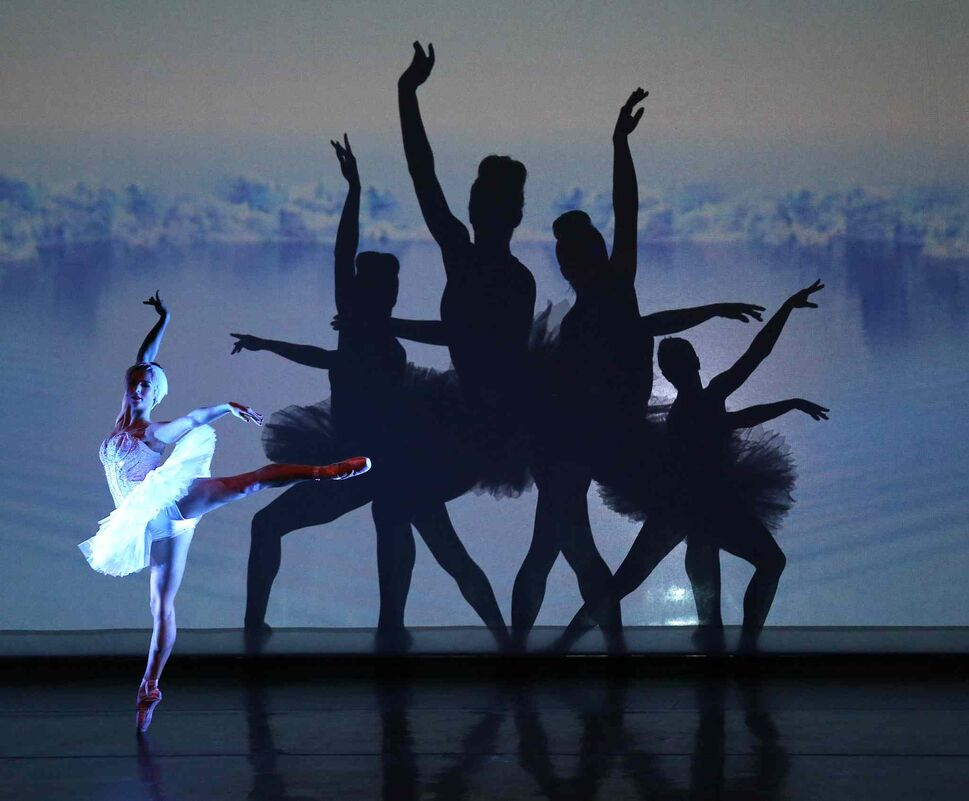 Le Ombré performed its magic with the Winnipeg Symphony Orchestra at the Centennial Concert Hall Saturday night. The troupe features acrobats and dancers using their silhouettes to create shadow art on both sides of a large screen.  (TREVOR HAGAN / WINNIPEG FREE PRESS)