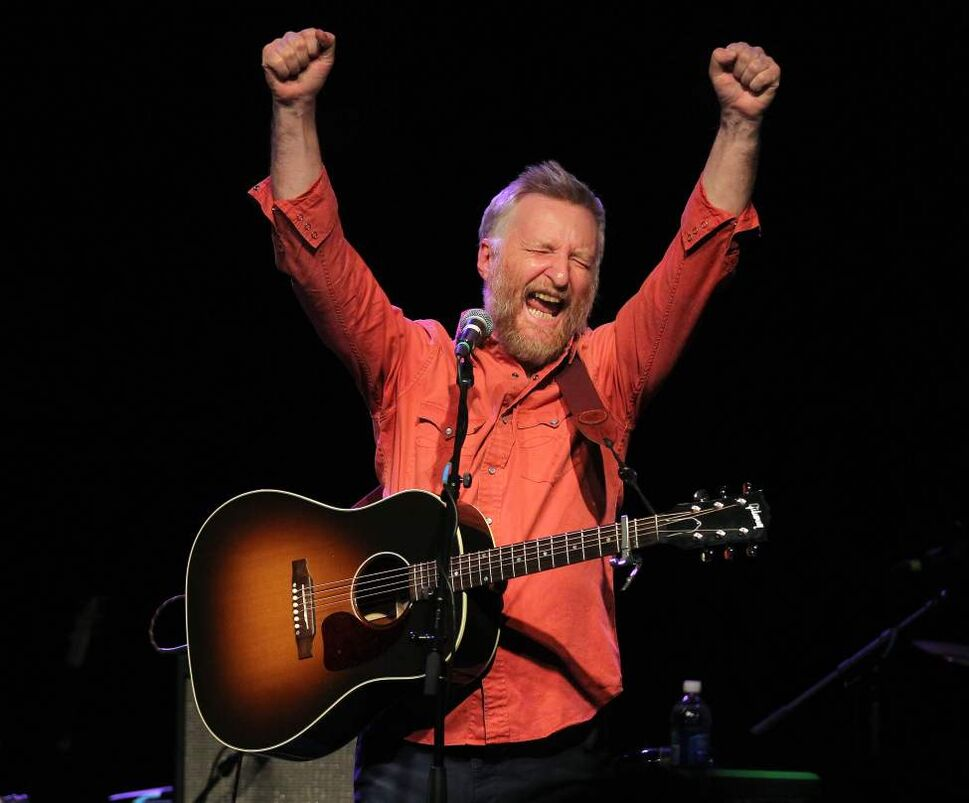 Billy Bragg performs onstage at the Garrick Centre. As always, Bragg expressed his activist leanings on many levels including here, his glee at the death of Margaret Thatcher. April 10, 2013 (Phil Hossack / Winnipeg Free Press)