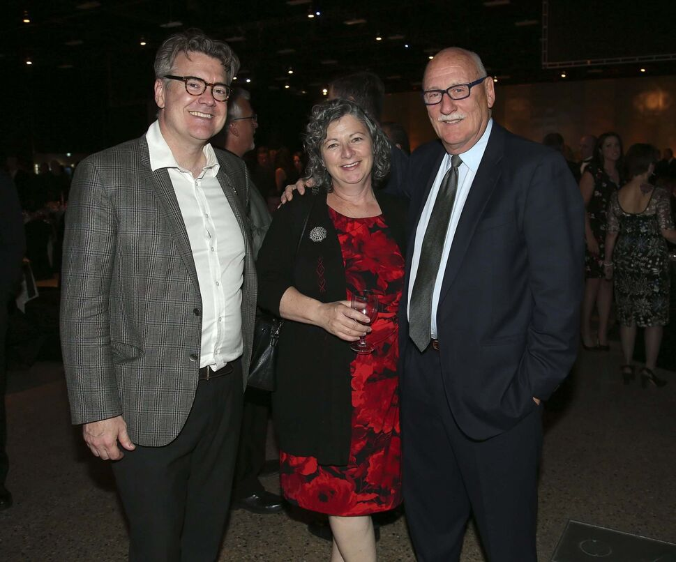 From left: Manitoba Liberal Leader Dougald Lamont, Sheilagh Boisjoli and Lloyd Schreyer.</p>