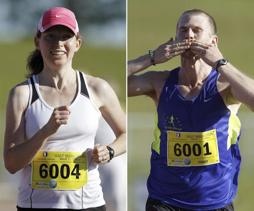 Darolyn Walker approaches the finish line to become the ladies half marathon winner with a time of 1:26:42, and Corey Gallagher salutes the crowd as he wins the men's half with a time of 1:10:50.  (TREVOR HAGAN/WINNIPEG FREE PRESS)