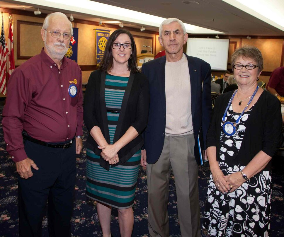 The Rotary Club of Winnipeg has a luncheon meeting every Wednesday at the RBC Convention Centre, from 12:15 to 1:15 p.m. The July 29, 2015 meeting featured a discussion of early warning signs of Alzheimer's disease, presented by the Alzheimer Society of Manitoba. Pictured, from left, are Frank Cosway (club president), Collette Mignon (community outreach manager, Alzheimer Society of Manitoba), Zbigniew Gayz and Karen Watson. (JOHN JOHNSTON FOR THE WINNIPEG FREE PRESS)  Rotary Club of Winnipeg Luncheon � RBC Convention Centre  The Rotary Club met on Wednesday July 29th at the RBC Convention Centre. The luncheon featured a discussion of the 10 early warning signs of Alzheimer�s disease presented by the Alzheimer�s Society of Manitoba. The Rotary club meets every Wednesday for at the RBC Convention Centre. To learn more about Rotary Club of Winnipeg visit winnipegrotary.org  (L-R) Frank Cosway (President Rotary Club of Winnipeg), Collette Mignon (Alzheimer Society of Manitoba), Zbigniew Gayz, Karen Watson