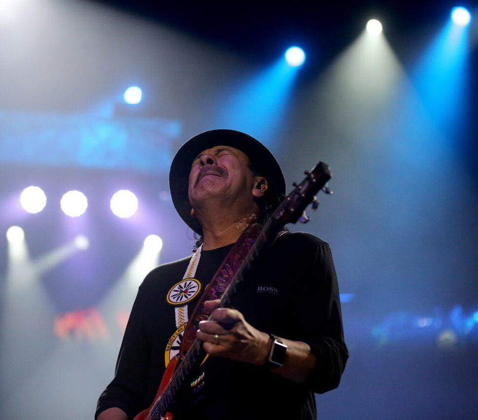 Santana feels the groove at MTS Centre Friday. (TREVOR HAGAN/WINNIPEG FREE PRESS)