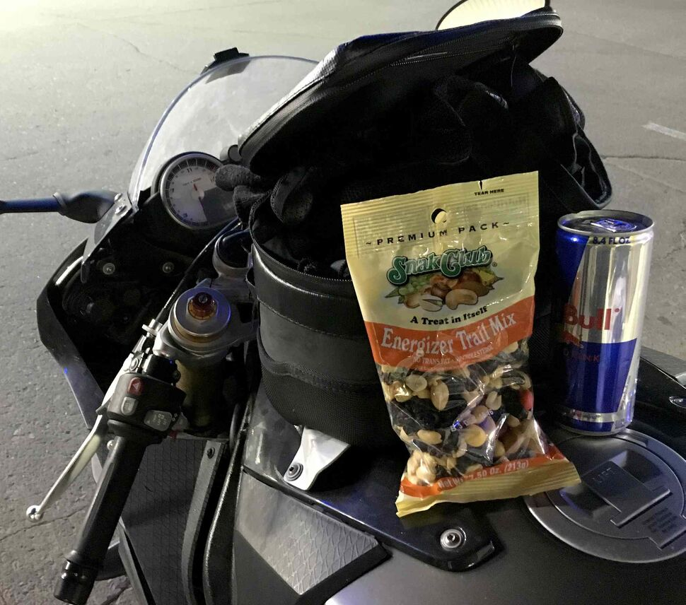 Day 16: What had become our usual snack. Red Bull and Trail Mix, Saturday, May 7, 2016.