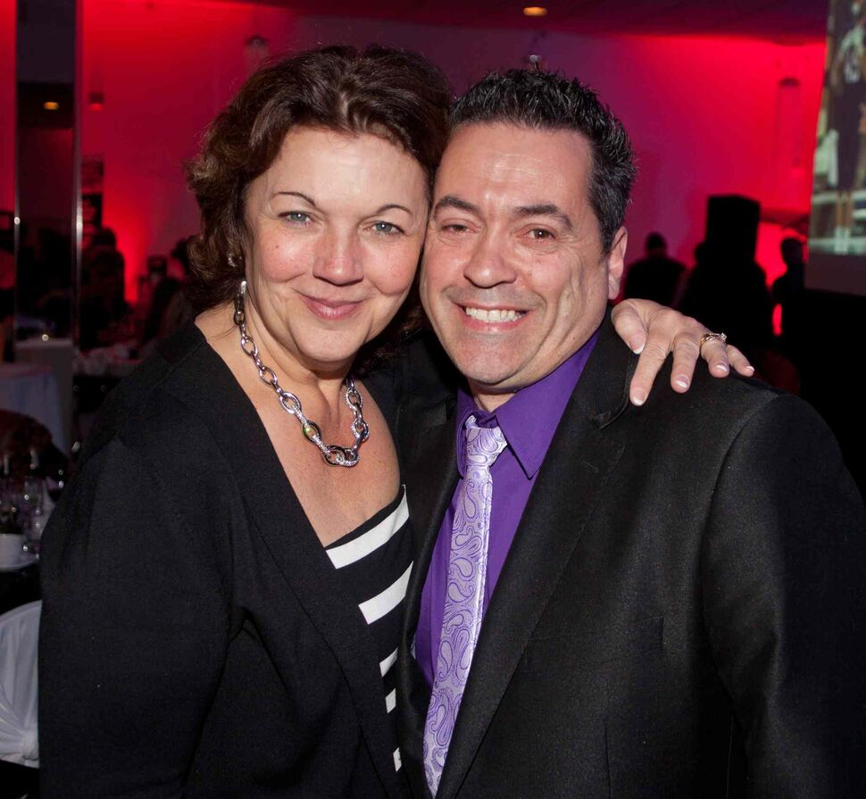 The Winnipeg Pet Rescue Shelter held its annual fundraiser gala dinner at the Gates on Roblin on May 14, 2015. The New York-themed event raised much-needed funds for the no-kill pet shelter. Pictured are Carla Martinelli–Irvine (the  shelter's founder and executive director) and Frankie Hollywood of Energy 106.   (JOHN JOHNSTON FOR THE WINNIPEG FREE PRESS)