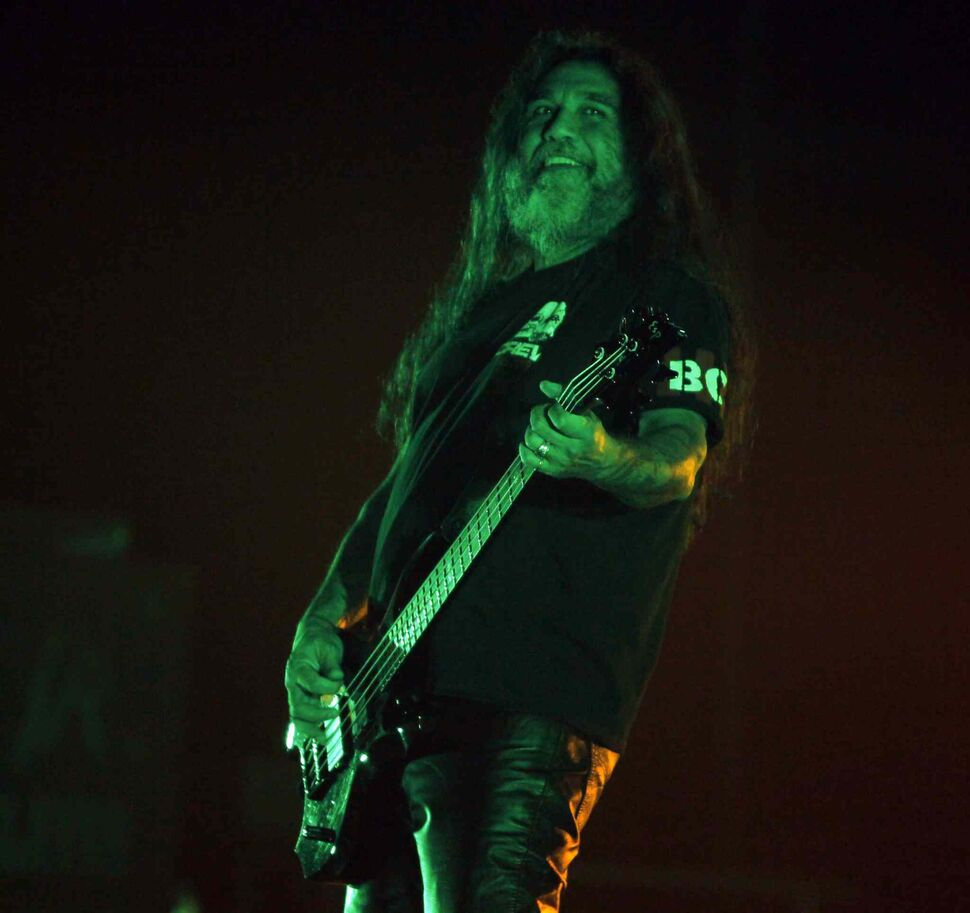 Vocalist/bassist Tom Araya smiles. (BORIS MINKEVICH / WINNIPEG FREE PRESS)