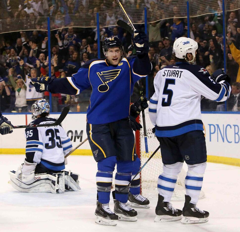 Blues centre David Backes reacts after scoring the go-ahead goal against Jets goaltender Al Montoya in third period. (CHRIS LEE / ST LOUIS DISPATCH/AP)