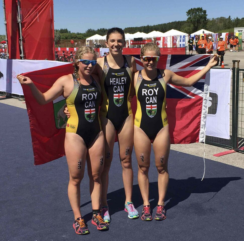 JASON BELL / WINNIPEG FREE PRESS</p><p>Team Manitoba's Caitlyn Roy (from left), Claire Healey and Kyla Roy win silver in the 3x Relay Female triathlon event at Bird's Hill Park Thursday, Aug. 3, 2017.</p>