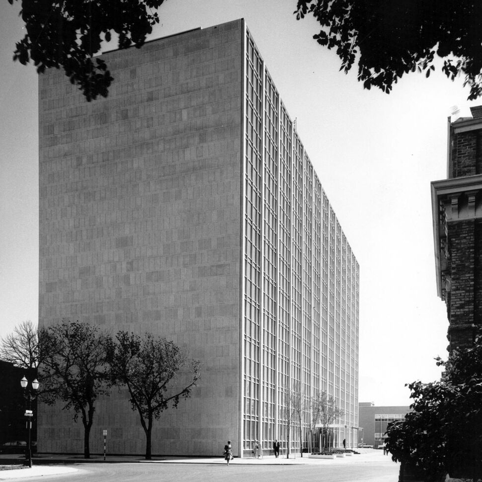 HENRY KALEN</p><p>Norquay Building, built in 1958-1960, is a sleek rectangle with clean Modernist lines.</p>