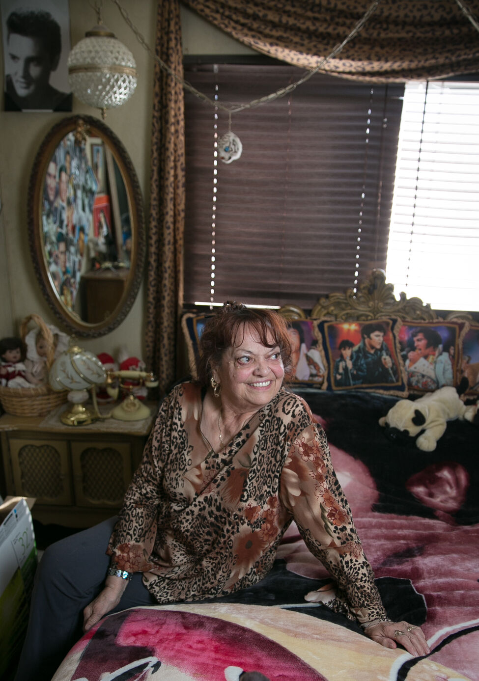 Gisela Wuensch, 80, is a former dancer who worked for Rick Irving. She now lives in Beausejour, and her trailer home is covered with photos of Elvis in every room.