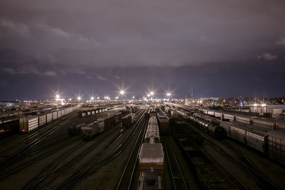 The CP rail yards from the Slaw Rebchuk Bridge. Day 22. (MELISSA TAIT / WINNIPEG FREE PRESS)