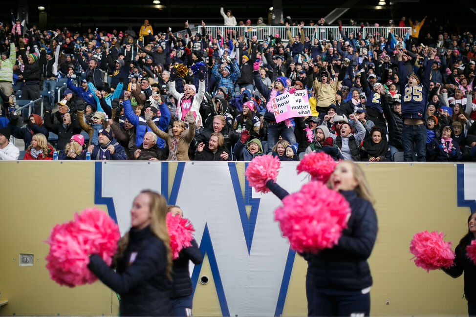 A bright moment during a dull season at Investors Group Field. The Winnipeg Blue Bombers score a touchdown. Day 1. (MELISSA TAIT / WINNIPEG FREE PRESS)