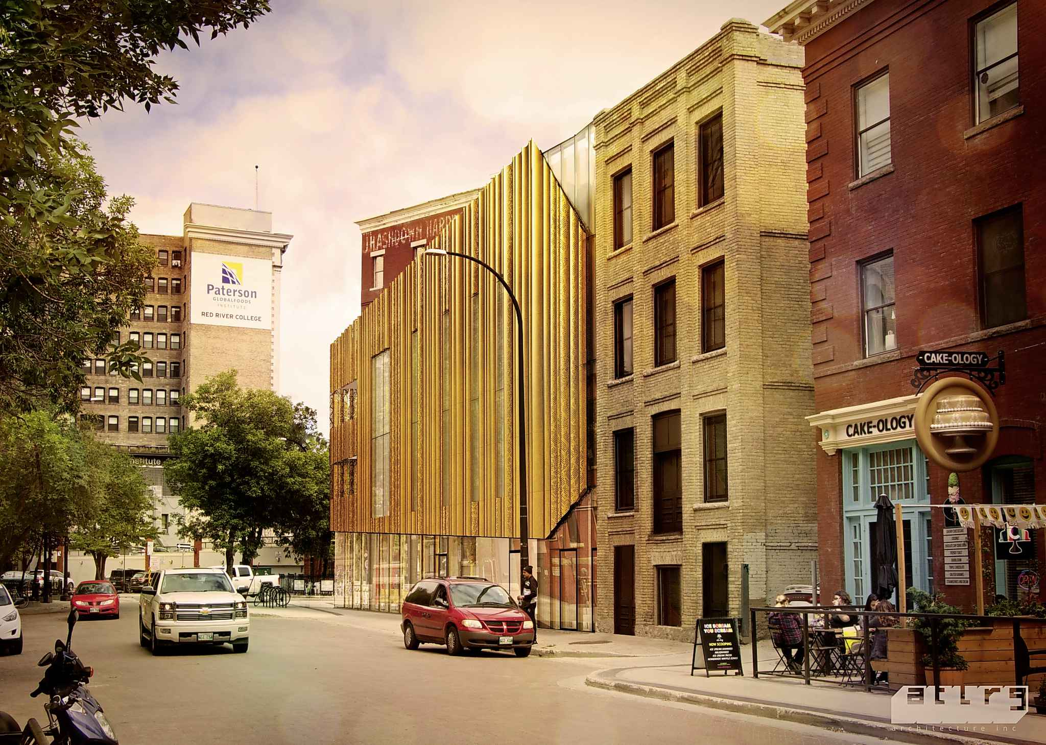 The former Reliable service station, on the wedge-shaped corner at 98 Albert St., is also on the commemorative list. There is a proposal to replace it with this building. (AtLRG Architecture)