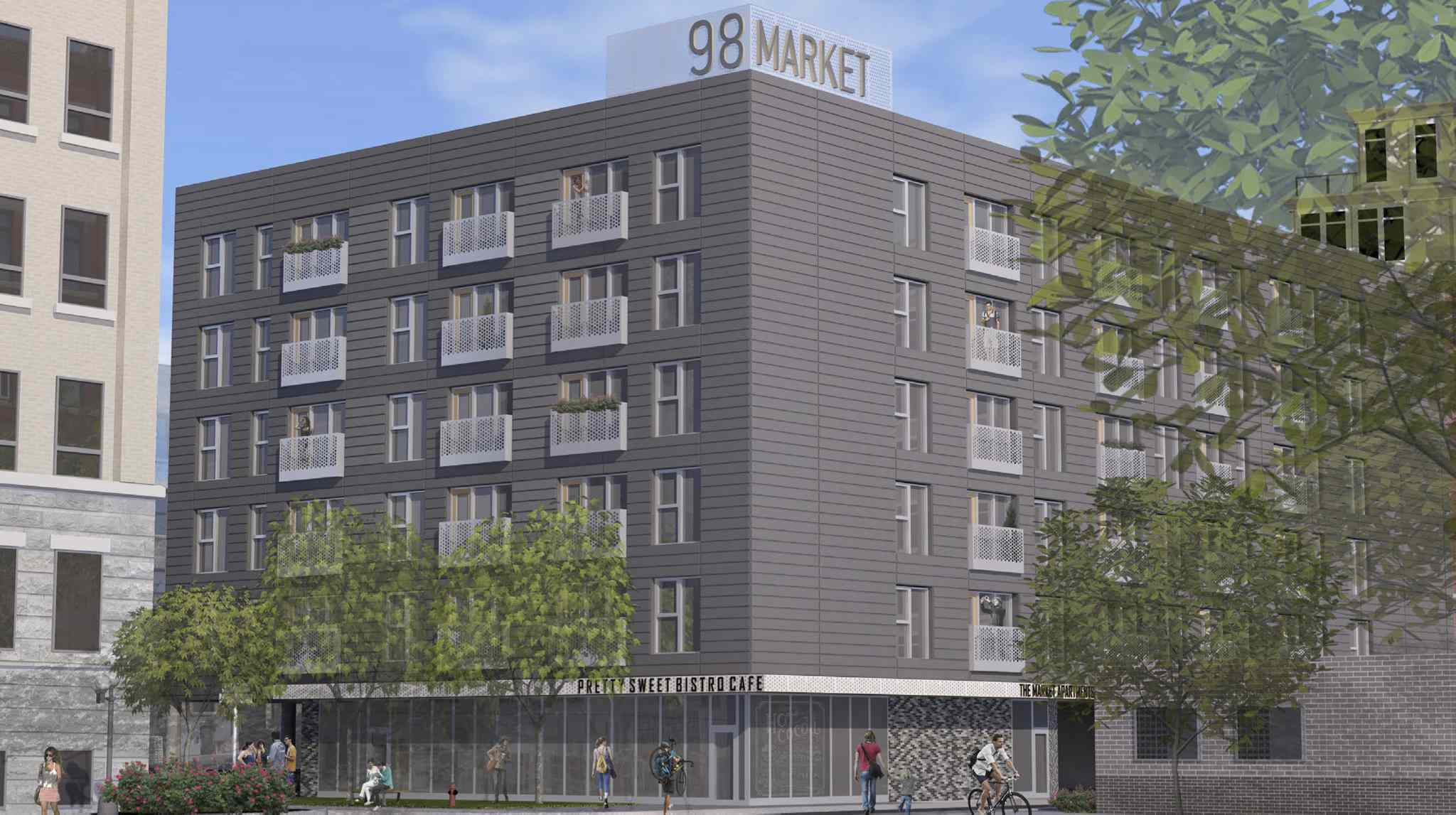 An artist's rendering of the apartment block that will be built at the foot of Market Avenue.