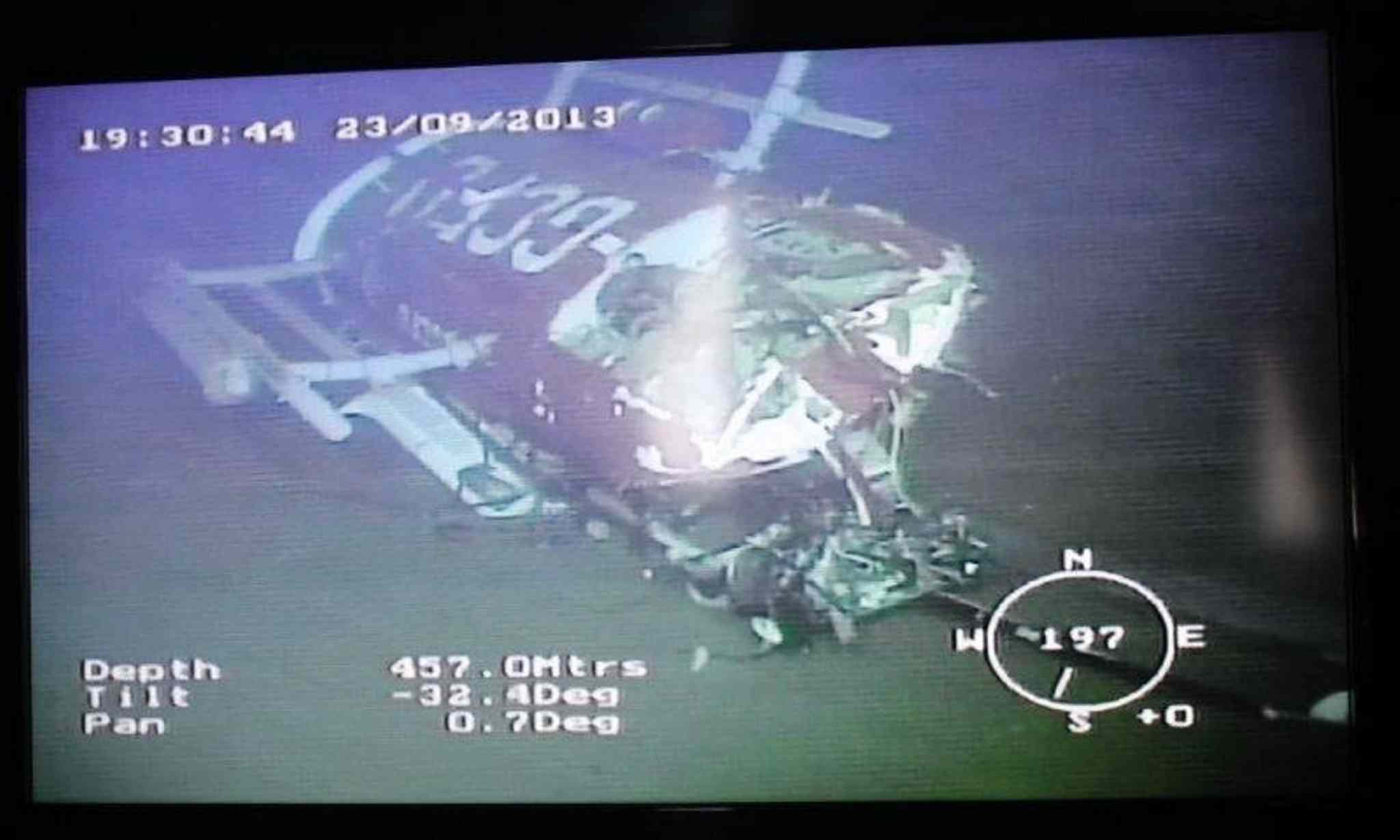 The sunken helicopter wreckage captured underwater by ArcticNet's Remote Operated Vehicle (ROV)