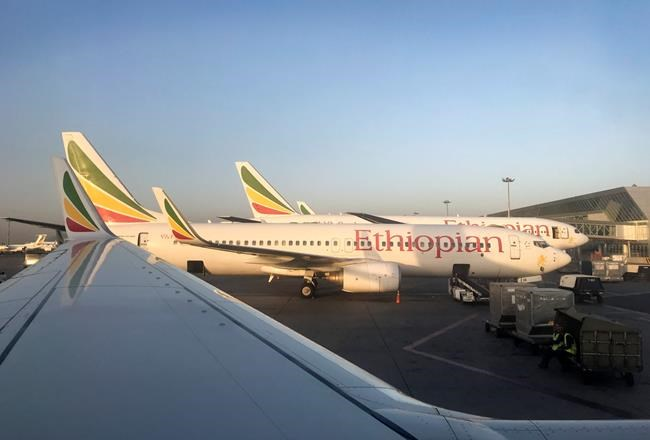 This photo taken Monday, Feb. 11, 2019 shows an Ethiopian Airlines Boeing 737-800 parked at Bole International Airport in Addis Ababa, Ethiopia. An Ethiopian Airlines Boeing 737 Max 8 jetliner carrying 157 people crashed shortly after takeoff from the Ethiopian capital Sunday, March 10, 2019 killing everyone aboard, authorities said. (AP Photo/Ben Curtis)