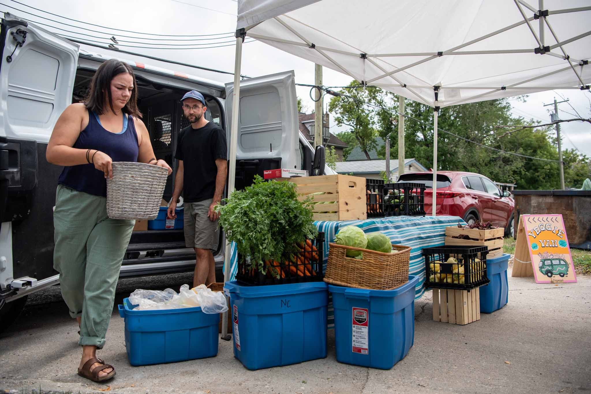 Janelle Wride, delivery co-ordinator for Fireweed Food Co-op, and Paul Dyck, a volunteer, deliver fresh produce to parts of the city where residents are unable to access healthy food choices.</p>
