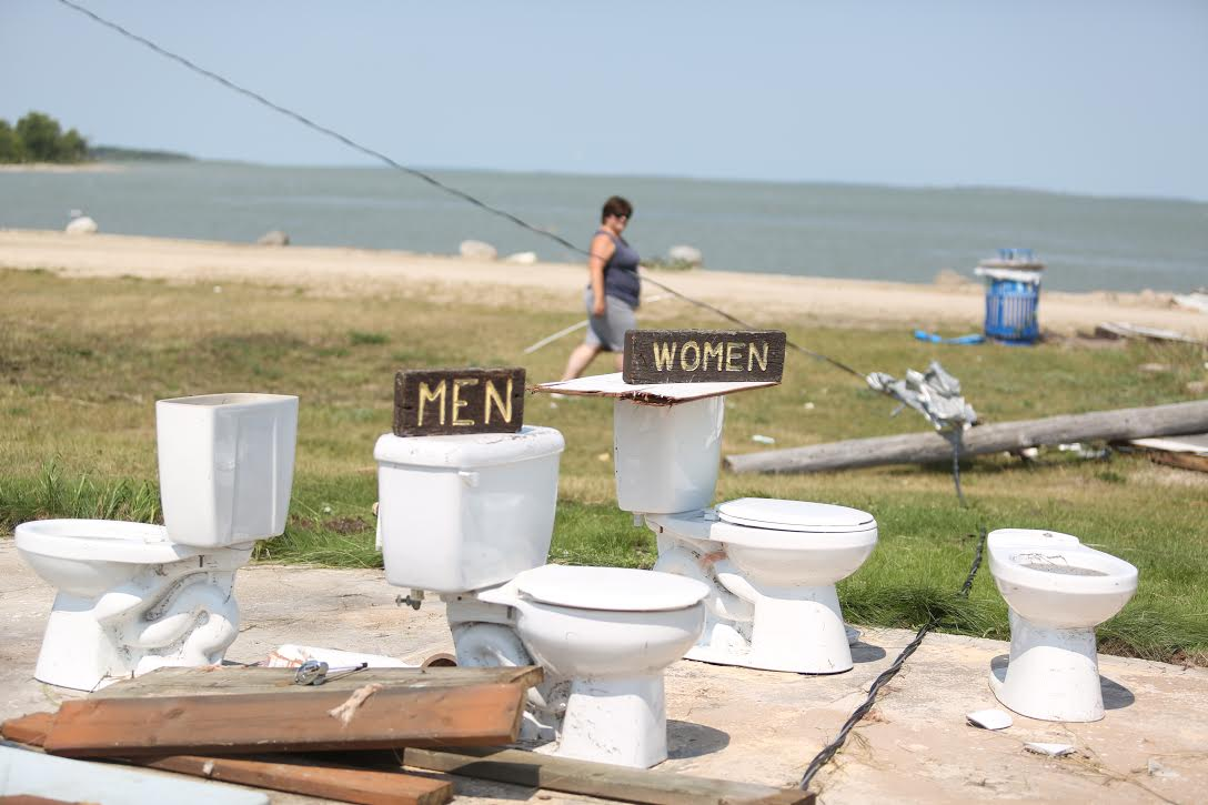 The buildings surrounding the toilets at Margaret Bruce Beach near Alonsa were completely destroyed by a tornado Friday night. Only the toilets themselves remained. (Melissa Verge / The Brandon Sun)