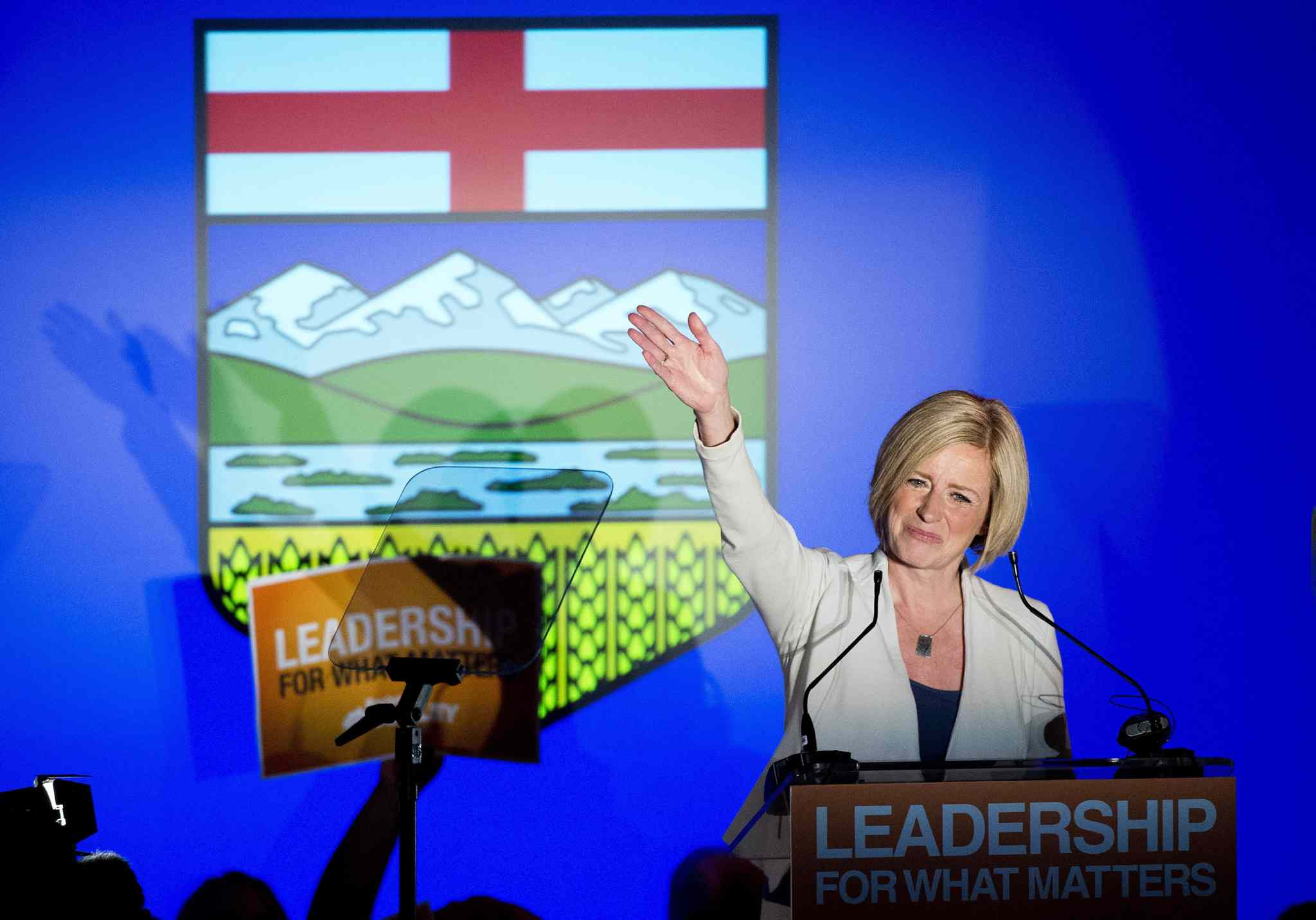 NDP leader Rachel Notley speaks on stage after being named Alberta's new Premier in Edmonton on Tuesday.