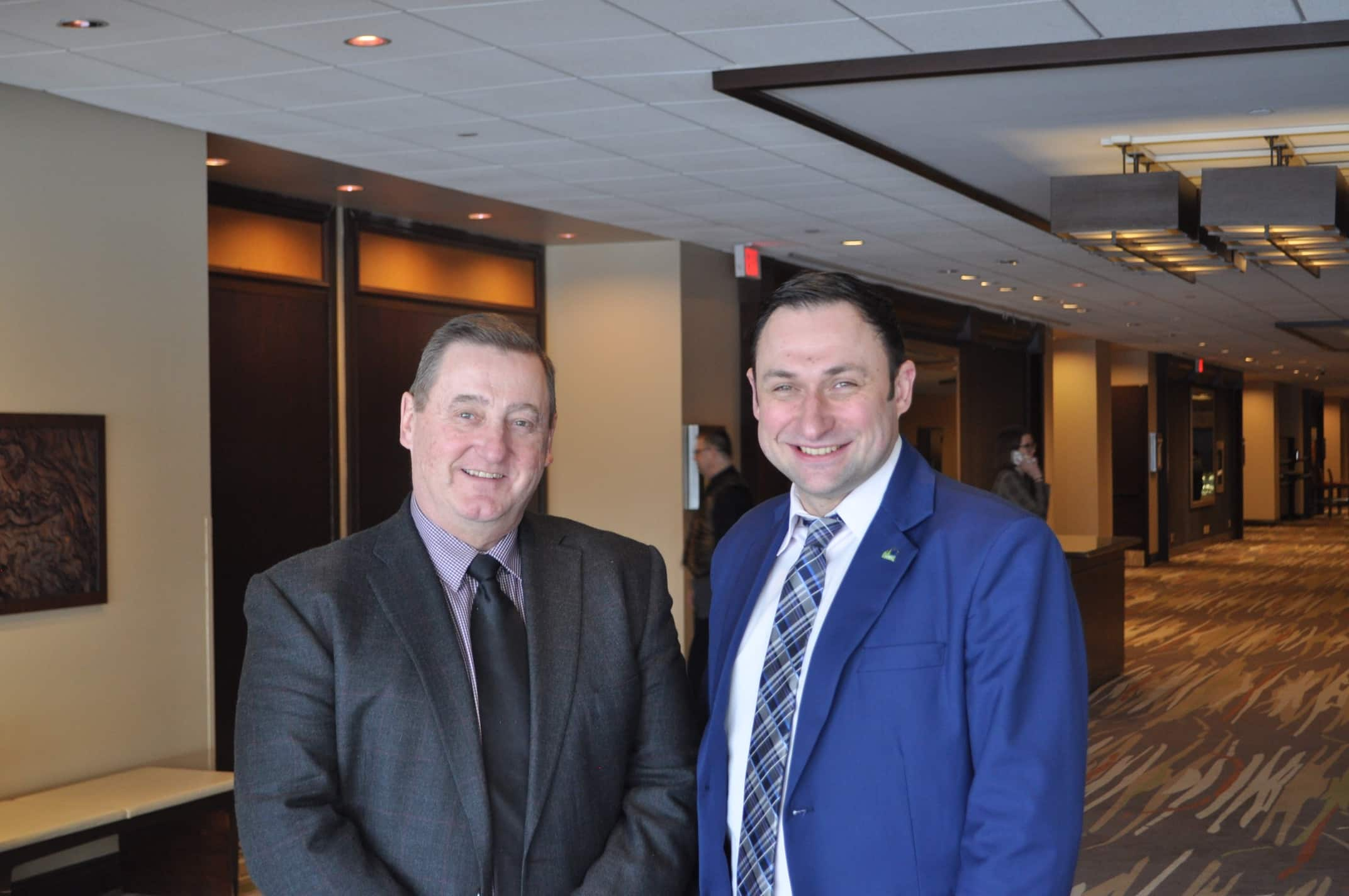 Loren Schinkel (left), reeve of the Rural Municipality of Lac du Bonnet, is in Ottawa with Denys Volkov, executive director of the Association of Manitoba Municipalities, for a meeting with federal officials on the contract that governs how RCMP police most of the province. The two want more co-ordination to deal with the rise of rural crime in Manitoba. (Dylan Robertson / Winnipeg Free Press)