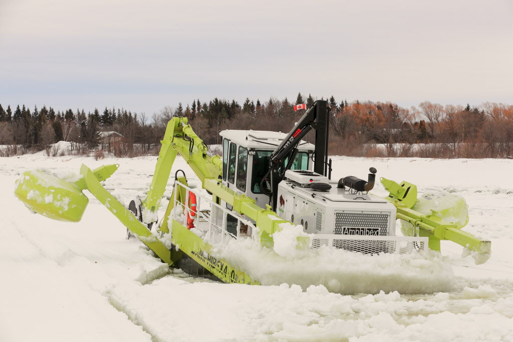 Due to cold weather, Amphibex icebreakers are rebreaking Red River ice they broke up about a month ago. The latest outlook indicates southern Manitoba likely won't experience major flooding problems.