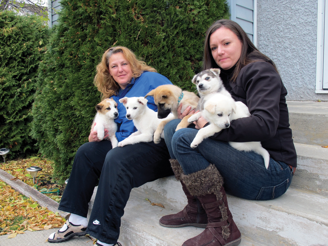 Debra Vandekerkhove (left) and Jill Britton want to stop the practice of shooting dogs to control their population in Norway House.