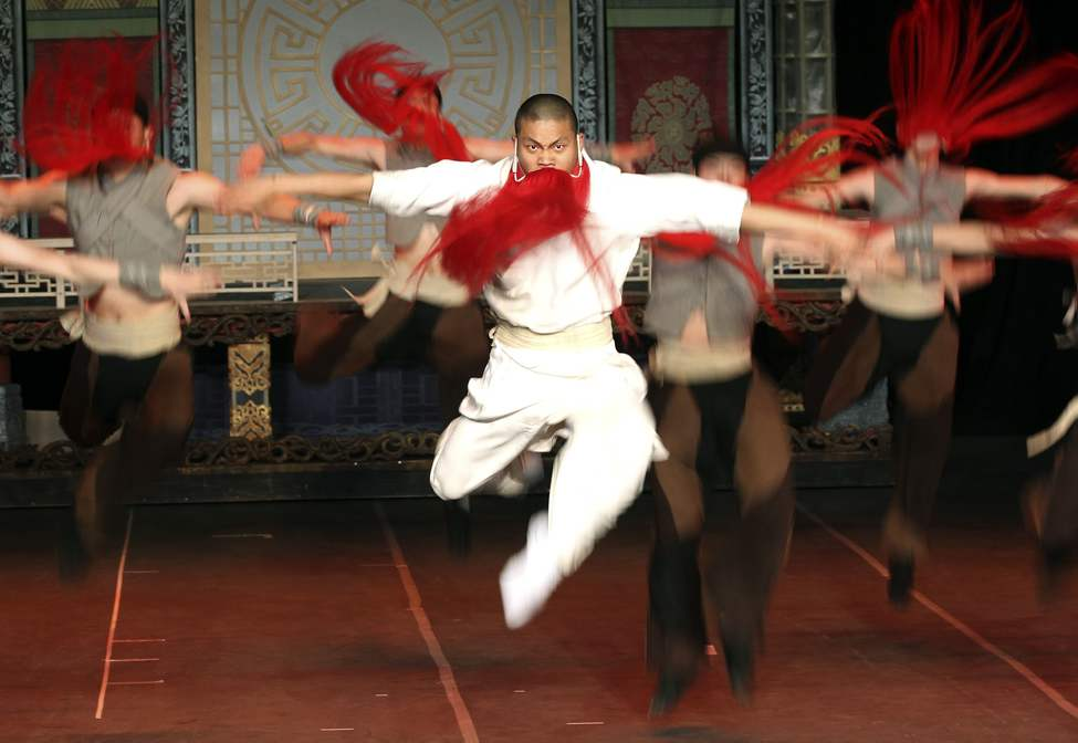 Red Beard Flying Warriors perform during a dress rehearsal of the