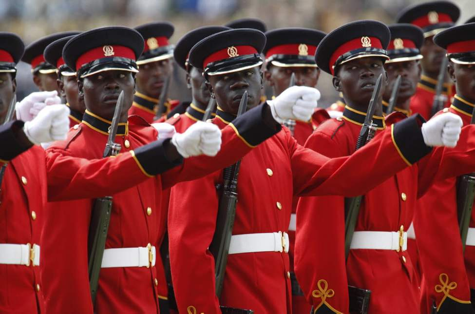 Kenya army soldiers during a march past at the Nyayo National Stadium in Nairobi, Kenya, to attend the 49th Madaraka Day or Independence from British rule celebrations  (AP Photo Sayyid Azim)