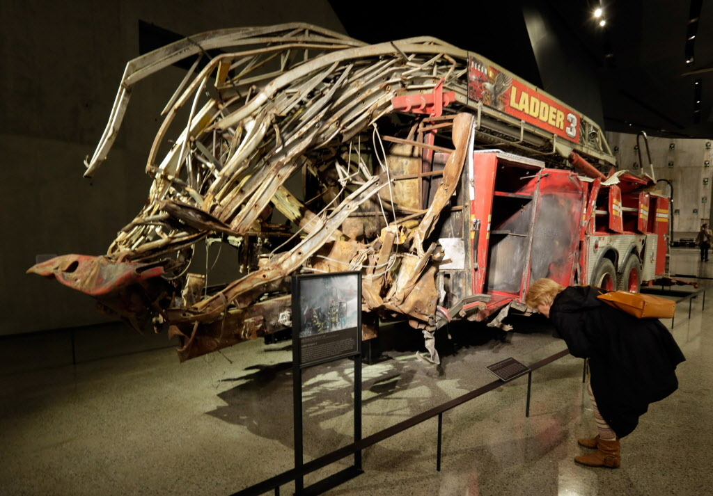 The remains of Fire Dept. of New York Ladder Company 3's truck are displayed at the National Sept. 11 Memorial Museum.