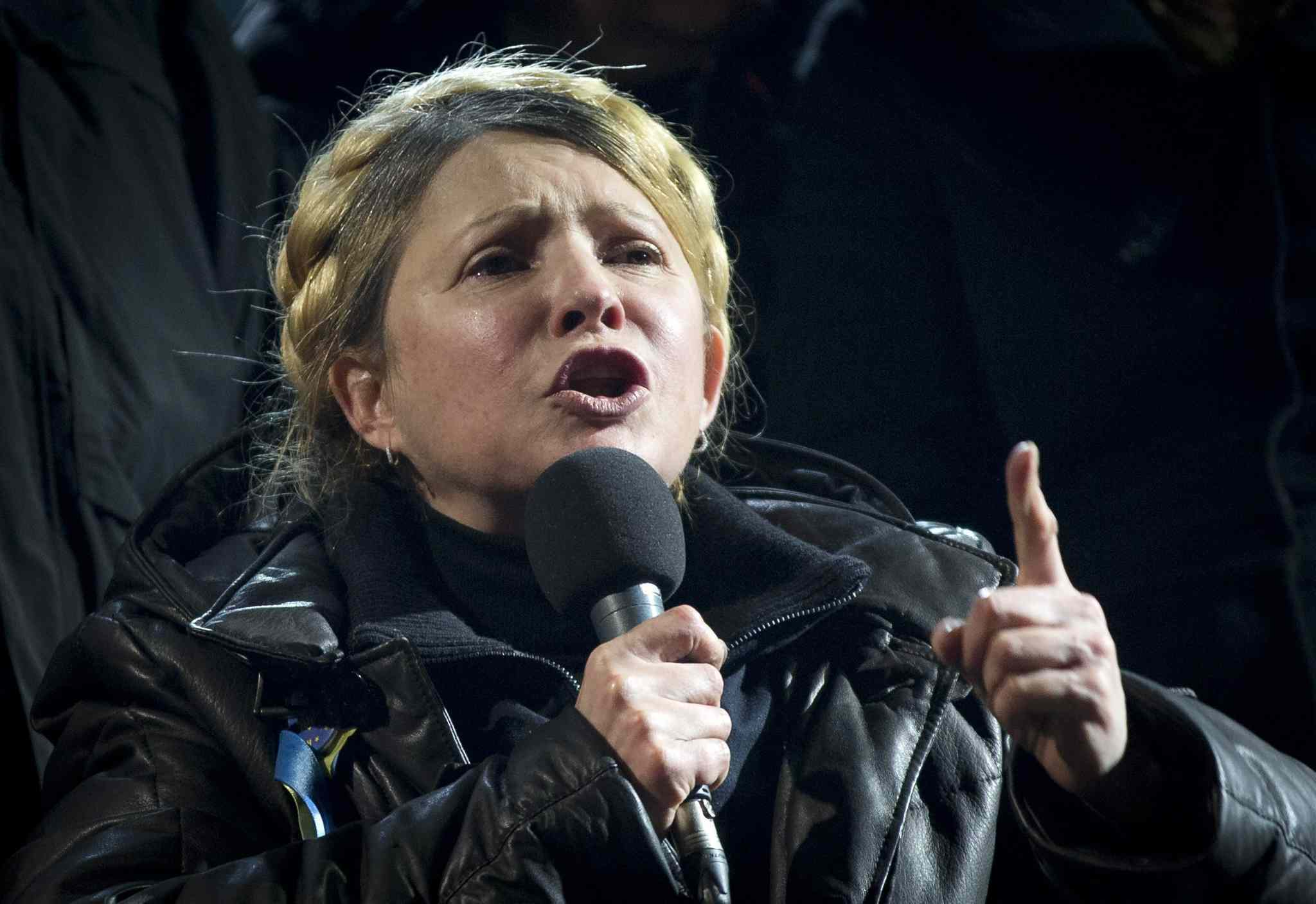 Former Ukrainian Prime Minister Yulia Tymoshenko addresses the crowd in central Kyiv, Ukraine on Saturday, hours after being released from prison, former Ukrainian prime minister and opposition icon Yulia Tymoshenko praised the demonstrators killed in violence this week as heroes.