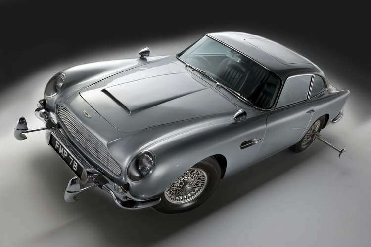 This Aston Martin DB5 was driven by Sean Connery in the James Bond movies Goldfinger and Thunderball. (Scott Reyburn / Bloomberg Archives)