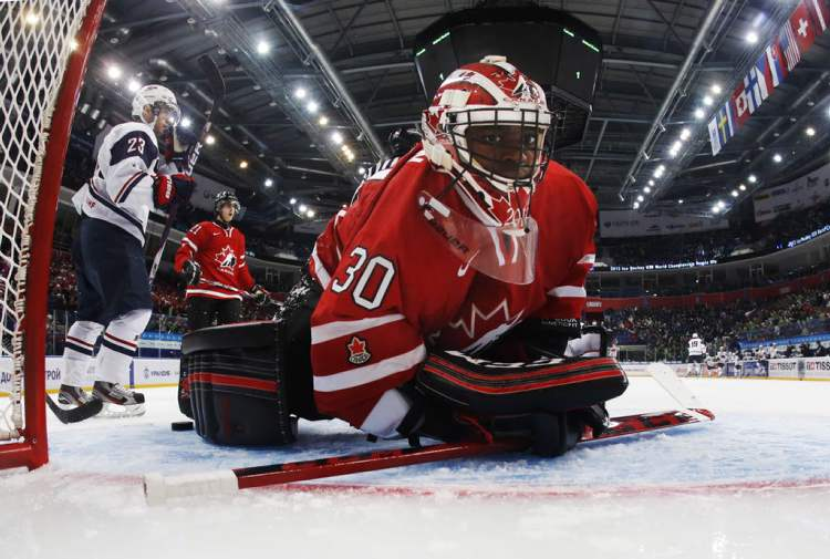 Team Canada goalie Malcolm Subban takes a moment to compose himself after a spectacular save against Team USA.