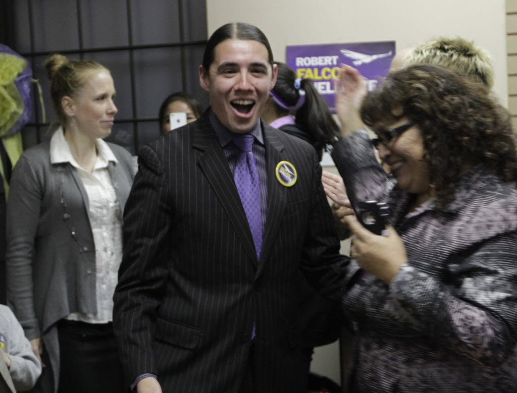 Robert-Falcon Ouellette shown as he is greeted by supporters on October 22, 2014, after finishing a surprising third in the race to become Winnipeg's mayor.