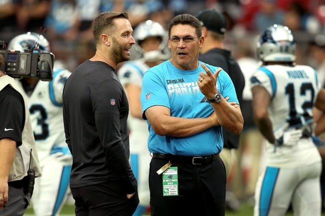 Carolina Panthers head coach Ron Rivera, right, talks with Arizona Cardinals head coach Kliff Kingsbury prior to an NFL football game, Sunday, Sept. 22, 2019, in Glendale, Ariz. (AP Photo/Ross D. Franklin)